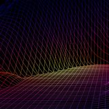 Landscape with wireframe grid of 80s styled retro computer game or science background 3d structure with heat map color. Landscape with wireframe grid of 80s vector illustration