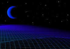 Landscape with wireframe grid of 80s styled retro computer game or science background 3d structure with moon eclipse stock illustration
