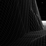 Landscape with wireframe grid 80s styled retro computer game or science background 3d structure with stars and mountains royalty free illustration