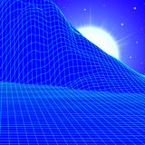Landscape with wireframe grid of 80s styled retro computer game or science background with sun and mountains vector illustration