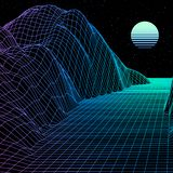 Landscape with wireframe grid of 80s styled retro computer game or science background 3d with sun and mountains. Landscape with wireframe grid of 80s styled royalty free illustration