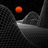 Landscape with wireframe grid of 80s styled retro computer game or science background 3d structure with sun. Landscape with wireframe grid of 80s styled retro stock illustration