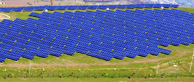Landscape wirh photovoltaic panels Royalty Free Stock Images