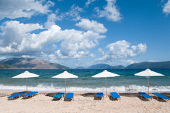 Free Landscape With  Beach And Parasols Royalty Free Stock Images - 10978469