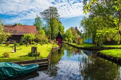 Landscape With Cottages In The Spreewald Area, Germany Royalty Free Stock Image