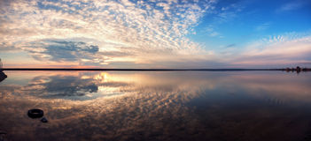 Free Landscape With Lake Reflection Clouds. Beautiful Summer Sunset Royalty Free Stock Photos - 53888518