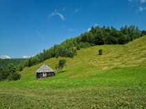 Free Landscape With Log Cabin On The Meadow On A Sunny Day Royalty Free Stock Photos - 192410478