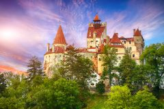 Free Landscape With Medieval Bran Castle Known For The Myth Of Dracula At Sunset Stock Image - 148500791