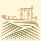 Landscape With One Grain Elevator Stock Photos