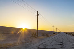 Landscape With Overhead Power Cable Stock Photos