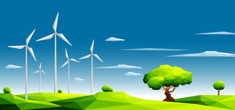 Landscape With Wind Farm In Green Fields Among Trees.Ecology Concept.Polygonal Style Stock Images