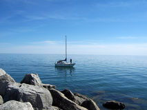Landscape With Yacht Stock Photos