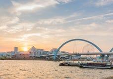 Landscape of wonderful sunset over sea harbor. Stock Photography