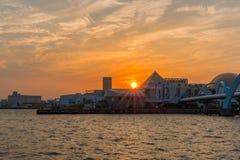 Landscape of wonderful sunset over sea harbor. Royalty Free Stock Photo