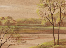 Landscape on wood veneer Stock Photo