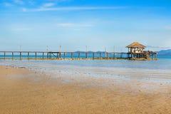 Landscape of Wooded bridge pier Royalty Free Stock Image