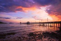 Landscape of Wooded bridge pier Royalty Free Stock Photos