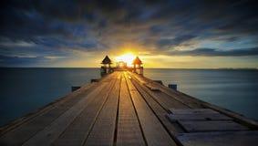 Landscape of Wooded bridge Royalty Free Stock Photo