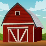 Landscape  wooden barn Stock Photography