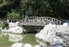 Landscape wooden bridge across the lake. Summer landscape wooden bridge across the lake Stock Images