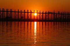 Landscape of wooden bridge at sunset Royalty Free Stock Photography