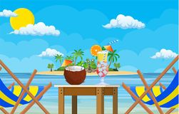 Landscape of wooden chaise lounge,. Palm tree on beach. Umbrella Day in tropical place. Vector illustration in flat style Royalty Free Stock Image