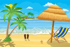 Landscape of wooden chaise lounge,. Palm tree on beach. Umbrella . Sun with clouds. Day in tropical place. Vector illustration in flat style Royalty Free Stock Images