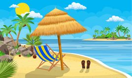 Landscape of wooden chaise lounge,. Palm tree on beach. Umbrella . Sun with clouds. Day in tropical place. Vector illustration in flat style Stock Image
