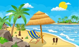 Landscape of wooden chaise lounge,. Palm tree on beach. Umbrella . Sun with clouds. Day in tropical place. Vector illustration in flat style Royalty Free Stock Photo