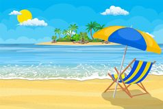Landscape of wooden chaise lounge,. Palm tree on beach. Umbrella . Sun with clouds. Day in tropical place. Vector illustration in flat style Royalty Free Stock Image