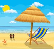Landscape of wooden chaise lounge,. Umbrella, flip flops on beach. Day in tropical place. Vector illustration in flat style Royalty Free Stock Photos