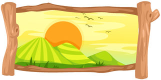 Landscape in wooden frame Royalty Free Stock Images