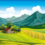 Landscape with wooden house and green field. Summer landscape with green field, wooden house in a forest and mountains on a blue sky with clouds Royalty Free Stock Photography