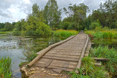 Landscape with wooden platform over small pond Royalty Free Stock Image