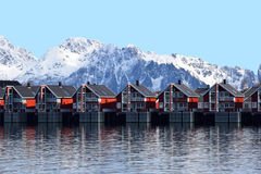 Landscape of a wooden red houses. Landscape of typical wooden red houses in the port maritime on a sunny day in Svolvaer, Norway Stock Images