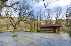 Landscape with wooden shed and trees Stock Images