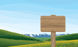 Landscape with Wooden Signboard Royalty Free Stock Photo
