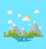 Landscape woods valley hill forest land, nature background. Illustration landscape woods valley hill forest land, nature background in flat style - Vector Royalty Free Stock Images