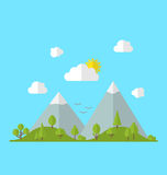 Landscape woods valley hill forest land scene view background. Vector Royalty Free Stock Photo