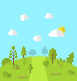 Landscape woods valley hill forest land scene view background. Vector Royalty Free Stock Image
