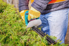 Landscape worker with bush cutter Royalty Free Stock Images