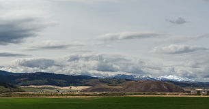 Landscape in Wyoming. With snow-capped mountains Stock Images