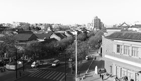 Landscape of the xian ancient city. black and white image. Royalty Free Stock Photo
