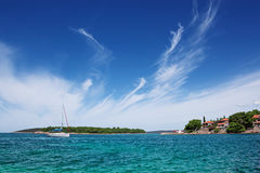 Landscape with a yacht. Royalty Free Stock Images