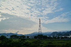 Landscape of Yamaguchi City. The view from the riverside Royalty Free Stock Photos