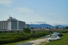 Landscape of Yamaguchi City. The view from the riverside Stock Images