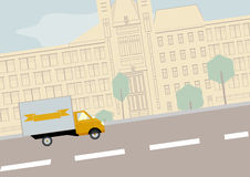 Landscape with yellow lorry. Vector illustration of landscape with yellow lorry.  Solid fill only no gradients, no gradient mech Royalty Free Stock Photos