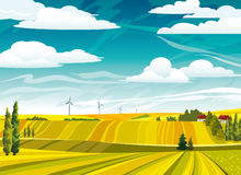 Landscape with yellow meadows Stock Photography