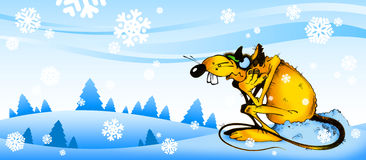 Landscape with yellow rat. Cartoon illustration of a winter landscape with yellow rat Royalty Free Stock Image