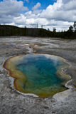 Landscape of the Yellowstone. A pond in the Bicuit Basin area of Yellowstone National Park stock images